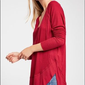 Free People Catalina Red Thermal Top